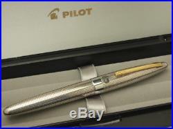 Pilot(NAMIKI) Old Elite Sterling Silver Lattice 1968 Made 18K F-nib Bellows Type