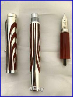 Platinum Vintage Sterling Silver Nib 18k WG Fine Fountain pen Japan RARE