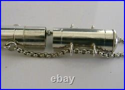 RARE ENGLISH ANTIQUE THERMOMETER or PEN TUBE STERLING SILVER BOX 1905 MEDICAL