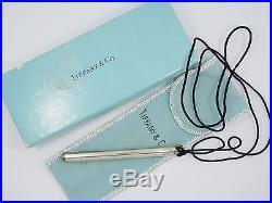 RARE TIFFANY & CO ELSA PERETTI STERLING SILVER BALLPOINT PEN ON CORD Box & Pouch