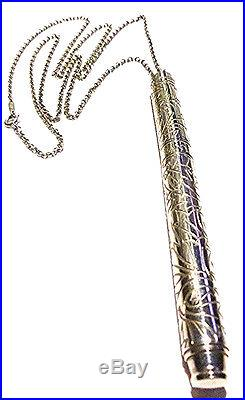 Rare 30 Cable Necklace Tiffany & Co Germany Sterling Silver Leaf Ballpoint Pen