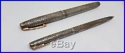 Rare 70's Set Sheaffer Imperial Sterling Silver Fountain Pen & Ball Point Pen