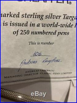 Rare Mint Sheaffer Classic Pens Cp1 Sterling Silver Targa Fountain Pen-106/250