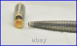 Rare Vintage PARKER 75 USA Cisele Sterling Silver Ballpoint Pen Gold Trim