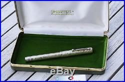 Rare Vintage SHEAFFER Nostalgia Floral design Fountain Pen Sterling silver