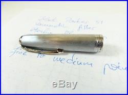 Restored 1947 Black Parker 51 Vacumatic Sterling Silver Cap Fountain Pen