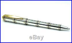 SANTOS De CARTIER Sterling Silver & Gold Ballpoint Pen +Box Limited 0643/1904