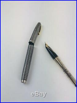 SHEAFFER STERLING SILVER w GOLD NIB IMPERIAL DIAMOND cartridge fountain pen used