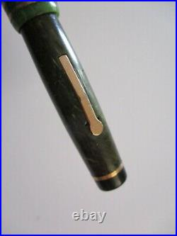 Salz Antique Fountain Pen 14k Gold Nib Sterling Silver Pencil Swirled Green Lot