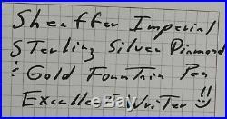 Sheaffer Imperial Sterling Silver Diamond & Gold Fountain Pen 14kt Nib 1970s