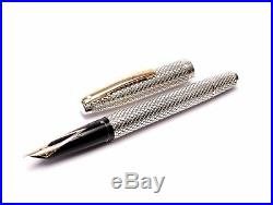 Sheaffer Imperial Touchdown Diamond Mesh Solid 925 Sterling Silver Fountain Pen