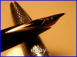 Sheaffer Sterling Silver Imperial Diamond Pattern Fountain Pen 14k FM Nib