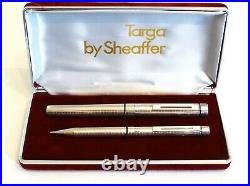 Sheaffer Targa 1006 Fountain Pen & Mech Pencil In Sterling Silver 14k Gold Nib