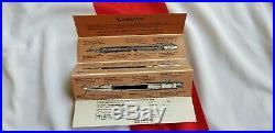 Sheaffer White Dot fountain pen, mechanical pencil solid sterling silver & 14k