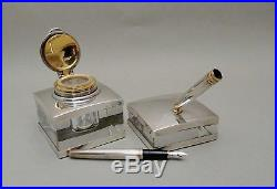 Sterling Silver Montblanc Inkwell and Pen