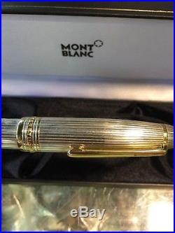 Sterling Silver Montblanc Meisterstück 1468 Pinstripe Solitaire Fountain Pen