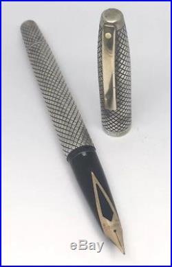 Sterling Silver Sheaffer Imperial Touchdown Fountain Pen Fine 14k Gold Nib Tip