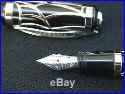 Striking Visconti Art Nouveau Sterling Silver & Black Resin Fountain Pen
