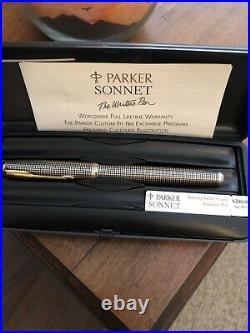 Unused Parker Sonnet Sterling Silver Cisele Fountain Pen 18 K Medium Nib