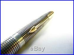 VINTAGE PARKER 75 STERLING SILVER CISELE 14K GOLD NIB Medium Converter