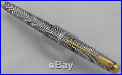 Vintage 925 Sterling Silver GT Parker 75 Cisele Grid'Flat Tassie' Fountain Pen