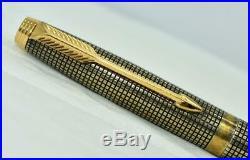 Vintage PARKER 75 Cisele Fountain Pen 925 Sterling Silver Vermeil Gold Trim