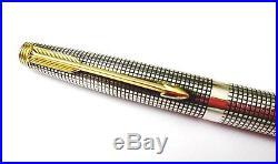 Vintage PARKER 75 Sterling Silver Fountain Pen, Cisele 14K Gold Nib, M Point