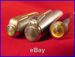 Vintage Parker 51 Black Double Jewel Fountain Pen + Pencil Sterling Silver Caps