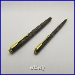 Vintage Parker 75 Cisele Sterling Silver Ballpoint Pen & Pencil Set -No Box