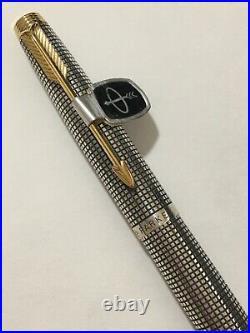 Vintage Parker 75 Cisele Sterling Silver Medium Nib Fountain Pen-usa-superb