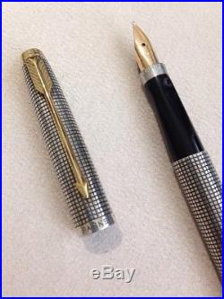 Vintage Parker 75 Flat Top Cisele Sterling Siver Gold Trim Broad Fountain Pen