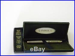 Vintage Parker 75 Sterling Silver Flat top Fountain pen 14K gold Nib