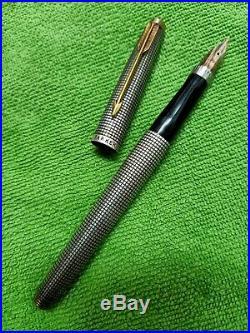 Vintage Parker 75 Sterling Silver Fountain Pen 14k 585 F Nib Flat Top