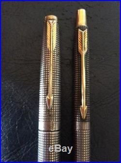 Vintage Parker 75 Sterling Silver Fountain Pen & Ballpoint Set