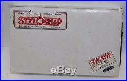 Vintage STYLOCHAP LE Woodgrain Sterling Silver Overlay Snake Safety Fountain Pen