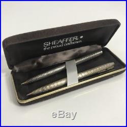 Vintage Sheaffer Ballpoint Pen Pair Sterling Silver Body Australian
