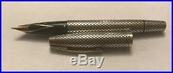 Vintage Sheaffer Sterling Silver Diamond Pattern Fountain Pen 14k Gold Nib