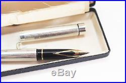 Vintage Sheaffer Targa Fountain Pen 925 Sterling Silver 14K Med nib Mint Boxed