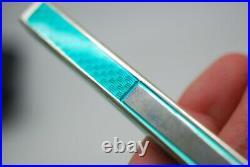 Vintage Sterling Silver Green Guilloche Enamel Ballpoint Pen Florence Italy