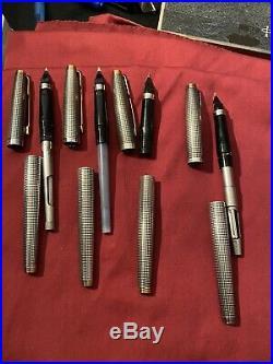 Vintage Sterling Silver Parker 75 Cisele Fountain Pens 14k Nib READ DESCRIPTION
