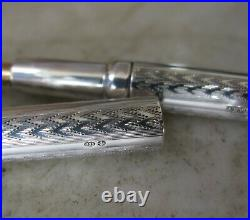 Vintage Swan Mabie Todd Sterling Silver Guilloche Fp New York + Original Box