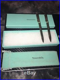 Vintage Tiffany & Co. Sterling Silver Vintage T Clip Pen Set of 2. Rare Blue B