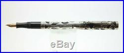 Vintage WATERMAN 454 Fountain Pen Sterling Silver Filigree Overlay 14K nib
