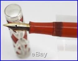 Vintage WATERMAN 52 Fountain Pen Basketweave Sterling Silver Overlay Working