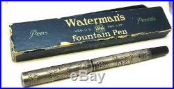 Vintage WATERMAN'S ORIENTAL Sterling Silver Overlay Fountain Pen & Box