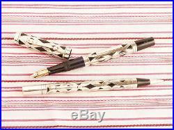Vintage Waterman's Ideal Sterling Silver Filigree Basket Fountain Pen Pencil Set