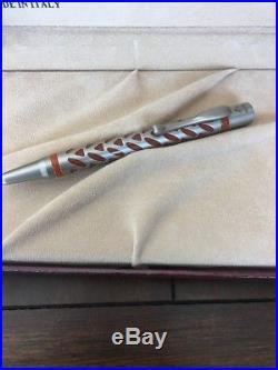 Visconti 925 Sterling Silver Skeleton Ballpoint Pen And Fountain Pen Orange Box