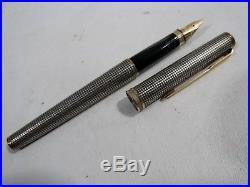 Vtg PARKER Premier Sterling Silver CISELE & Gold Fountain Pen 18k Nib France