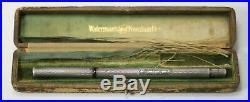 WATERMAN 402 Sterling Silver Fountain Pen BARLEY Overlay Near Mint Boxed
