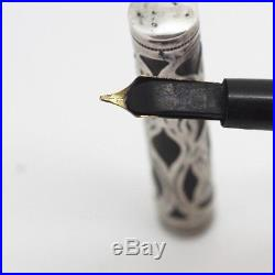 WATERMAN 415 Fountain Pen Eyedropper Sterling Silver Filigree Overlay #5 Nib